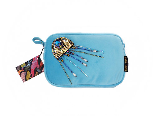 Turquoise Velvet Bag With Crystal Jellyfish Brooch