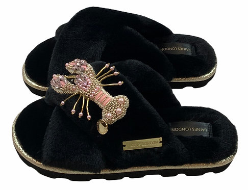 Ultralight Chic Slippers / Sliders With Artisan Pink Lobster Brooch