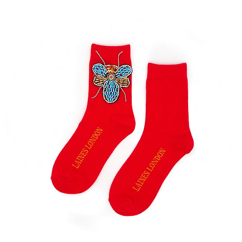 Bright Red Bamboo Cotton Socks With Beaded Bug Brooch