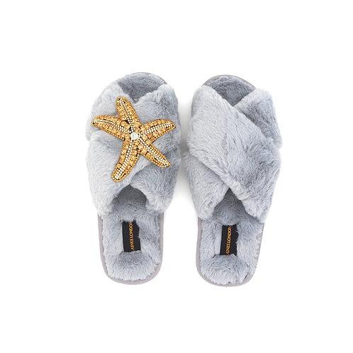 Grey Fluffy Slippers Starfish Brooch