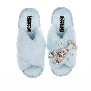Artisan Pearl & Silver Lobster on Powder Blue Classic Slippers