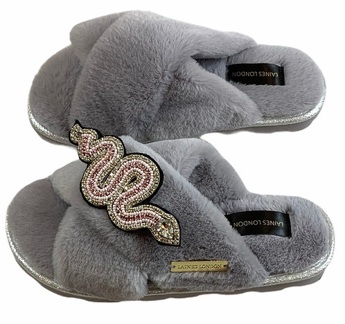 Ultralight Chic Slippers / Sliders With Artisan Pink Snake Brooch