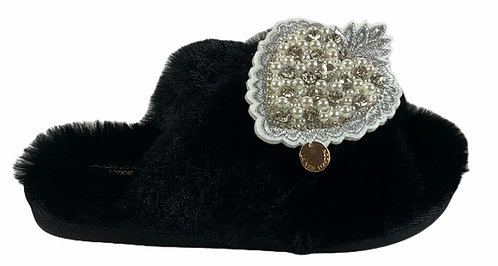 Laines Cloud Black Slippers with Artisan Pearl Heart Brooch -WIDE FIT