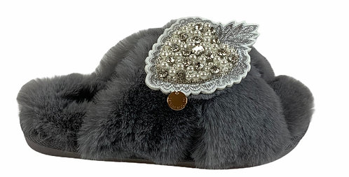 Laines Grey Slippers with Artisan Pearl Heart Brooch