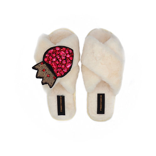 Cream Fluffy Slippers With Rhinestone Heart and Crown Brooch