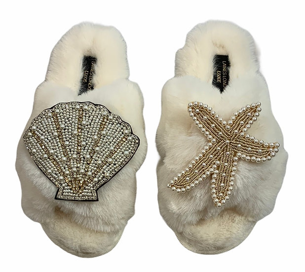 Laines Cloud Cream Slippers With Double Artisan Pearl & Gold Seashell & Starfish