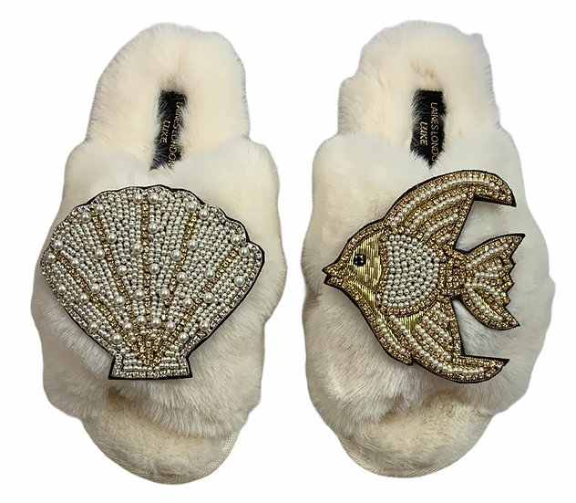 Laines Cloud Cream Slippers / Double Artisan Pearl & Gold Seashell & Angel Fish