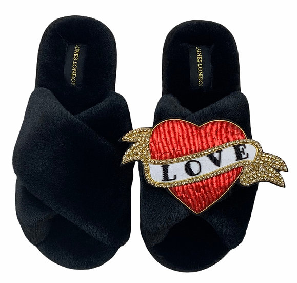 Classic Laines Slippers with Deluxe Red Heart Tattoo Brooch