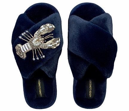 Navy Fluffy Slippers Crystal White Lobster Brooch