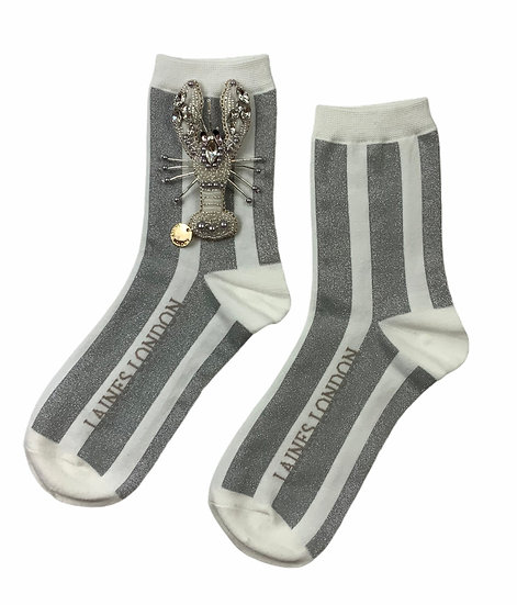 White & Silver Shimmer Stripe Cotton Socks With Artisan Silver Lobster Brooch