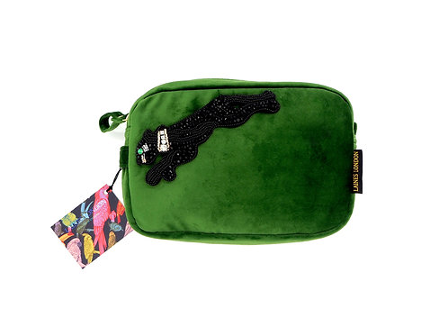 Green Velvet Bag With Jet Panther Brooch