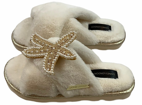 Ultralight Chic Slippers / Sliders With Artisan Gold & Pearl Starfish Brooch