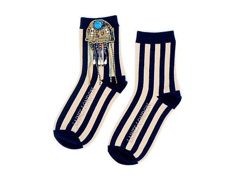 Navy and Cream Stripe Cotton Socks With Jellyfish Brooch