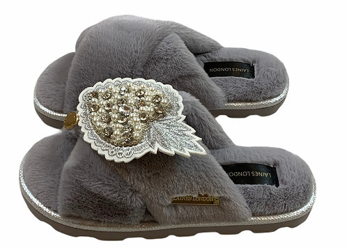 Ultralight Chic Slippers / Sliders With Artisan Pearl Heart Brooch
