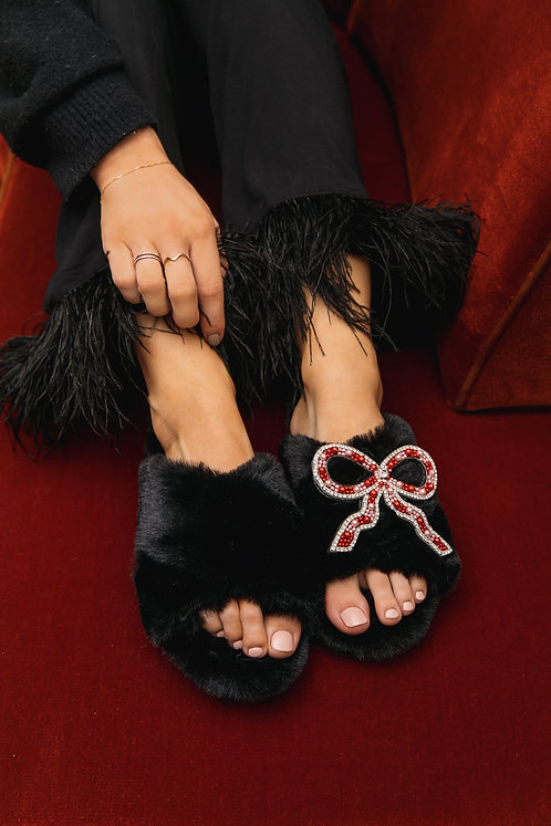 Laines Cloud Black Wide Fit Slippers with Deluxe Artisan Bow Brooch