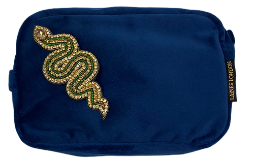 Laines London Navy Velvet Bag With Artisan Gold & Green Snake Brooch