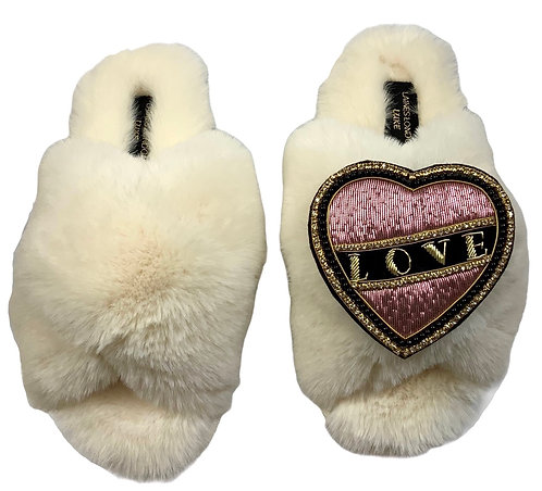 Laines Cloud Cream Slippers With Pink & Black Deluxe Love Brooch