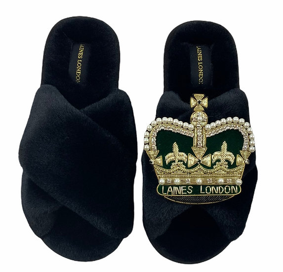 Classic Laines Slippers with Deluxe Royal Green Crown Brooch