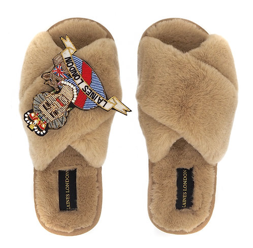 Caramel Fluffy Slippers with LUXE Queen Brooch
