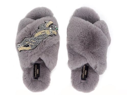Laines Luxe Fluffy Grey Slippers With Platinum Panter Brooch