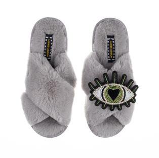 Deluxe Artisan Green Heart Eye on Classic Grey Slippers