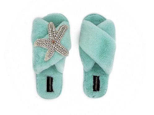 Aqua Blue Fluffy Slippers Silver Starfish Brooch