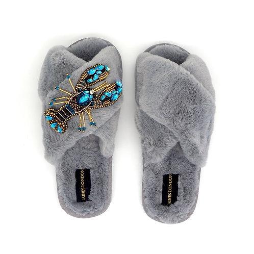 Grey Fluffy Slippers Crystal Blue Lobster Brooch