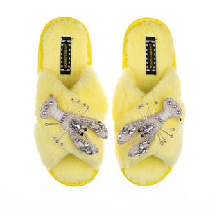 Artisan Double Pearl & Silver Lobster on Lemon Classic Slippers