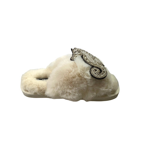 Laines Luxe Fluffy Cream Slippers With Deluxe Silver Seahorse Brooch