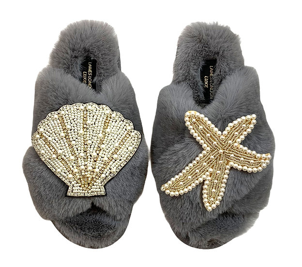 Laines Cloud Grey Slippers With Double Artisan Pearl & Gold Seashell & Starfish