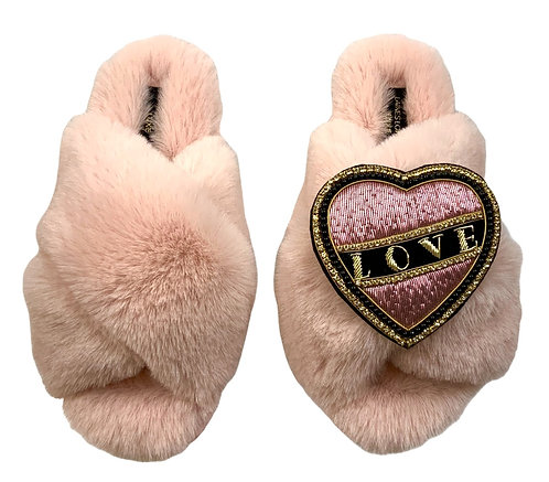 Laines Cloud Pink Slippers With Deluxe Pink & Black Love Brooch