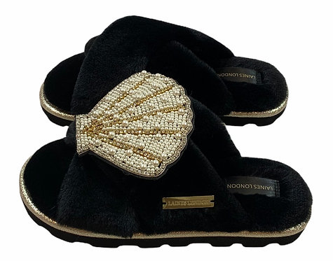 Ultralight Chic  Slippers / Sliders with Deluxe Seashell Brooch
