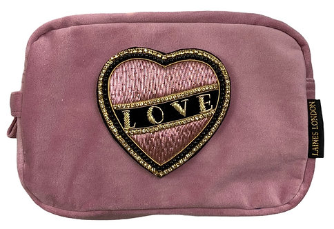 Laines London Luxe Pink Velvet Bag With Deluxe Black Love  Brooch