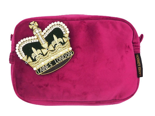 Laines London Luxe Bright Pink Velvet Bag With Deluxe Crown Brooch