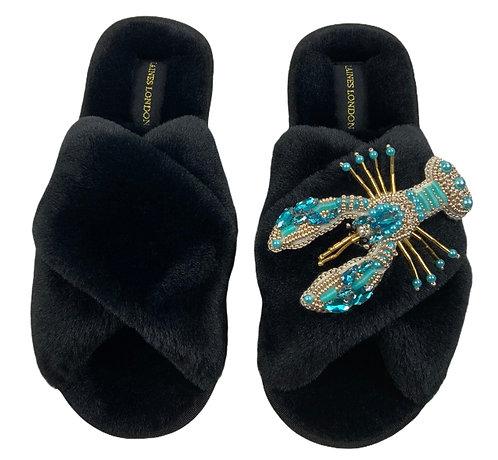 Black Fluffy Slippers Pearl Blue Lobster Brooch