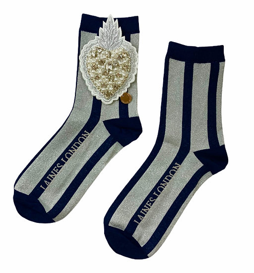 Navy & Silver Shimmer Stripe Socks With Artisan Pearl Heart