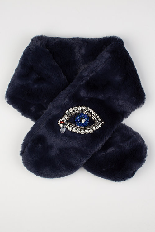 Faux Fur Collar Scarf in Navy