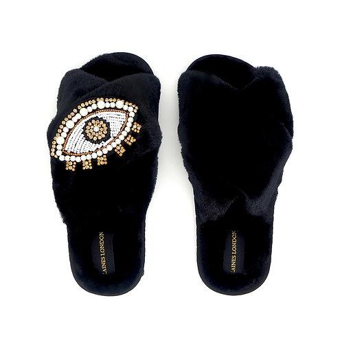 Black Fluffy Slippers Crystal & Pearl Eye Brooch