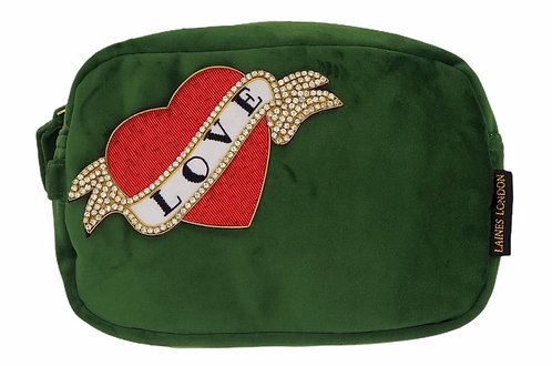 Laines London Luxe Green Velvet Bag With Deluxe Red Love Heart Tattoo Brooch