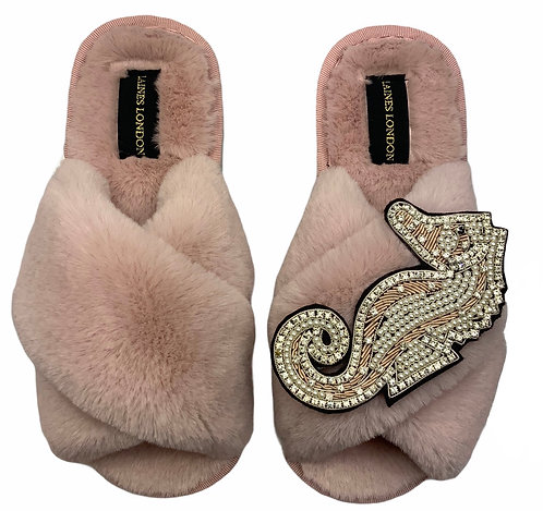 Pink Fluffy Slippers with Deluxe Crystal and Pearl Pink Seahorse Brooch