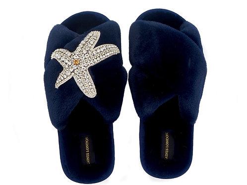 Navy Fluffy Slippers Silver Starfish Brooch