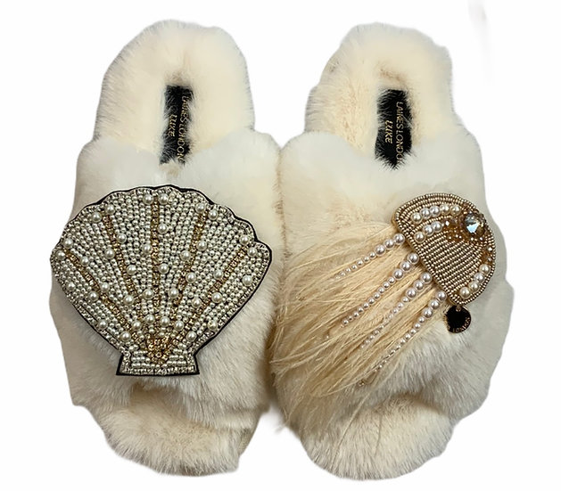 Laines Cloud Cream Slippers / Double Artisan Pearl & Gold Seashell & Jellyfish