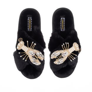 Artisan Double Pearl & Gold Lobster on Black Classic Slippers
