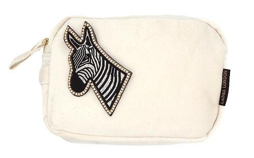 Laines London Luxe Cream Velvet Bag With Deluxe Zebra Brooch
