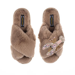 Artisan Pearl & Pink Lobster on Toffee Classic Slippers