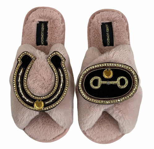 Classic Laines Slippers with Double Deluxe Horse-Bit & Horseshoe Brooches