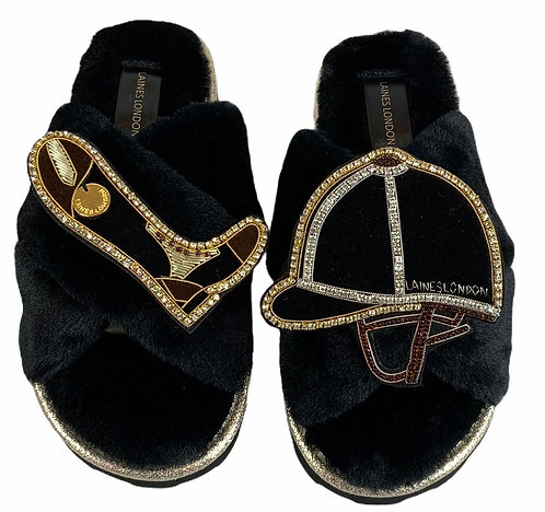 Ultralight Chic Slippers / Slider Deluxe Riding Hat & Riding Boot Brooch