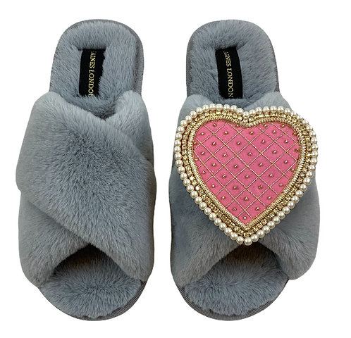 Grey Fluffy Slippers with Deluxe Pink Quilted Heart Brooch