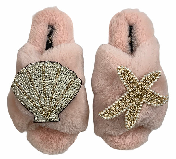 Laines Cloud Pink Slippers With Double Artisan Pearl & Gold Seashell & Starfish