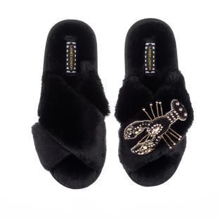 Artisan Black & Gold Lobster on Black Classic Slippers